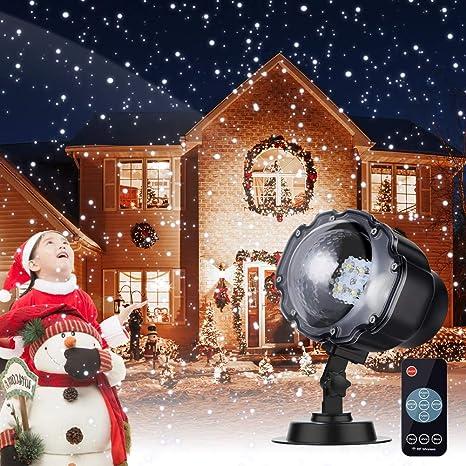 Proiettore Luci Natalizie Led.Proiettore Luci Natale Luce Di Caduta Della Neve Con Impermeabile Ip65 Due Temperature Di Colore Telecomando Rf Proiettore Natale Esterno Lampada