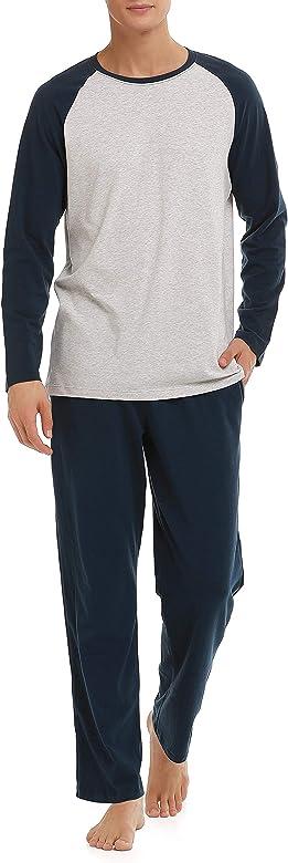 Genuwin Pijama de Dos Piezas para Hombre, Ropa de Dormir Pijama Corto o Largo de Algodón,