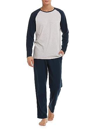 873ce37375fcb4 Genuwin Herren Zweiteiliger Schlafanzug Hausanzug Lang Pyjama aus Baumwolle  Nachtwäsche - Langarm Shirt mit Raglanärmel & Lange Hose, 1 Set