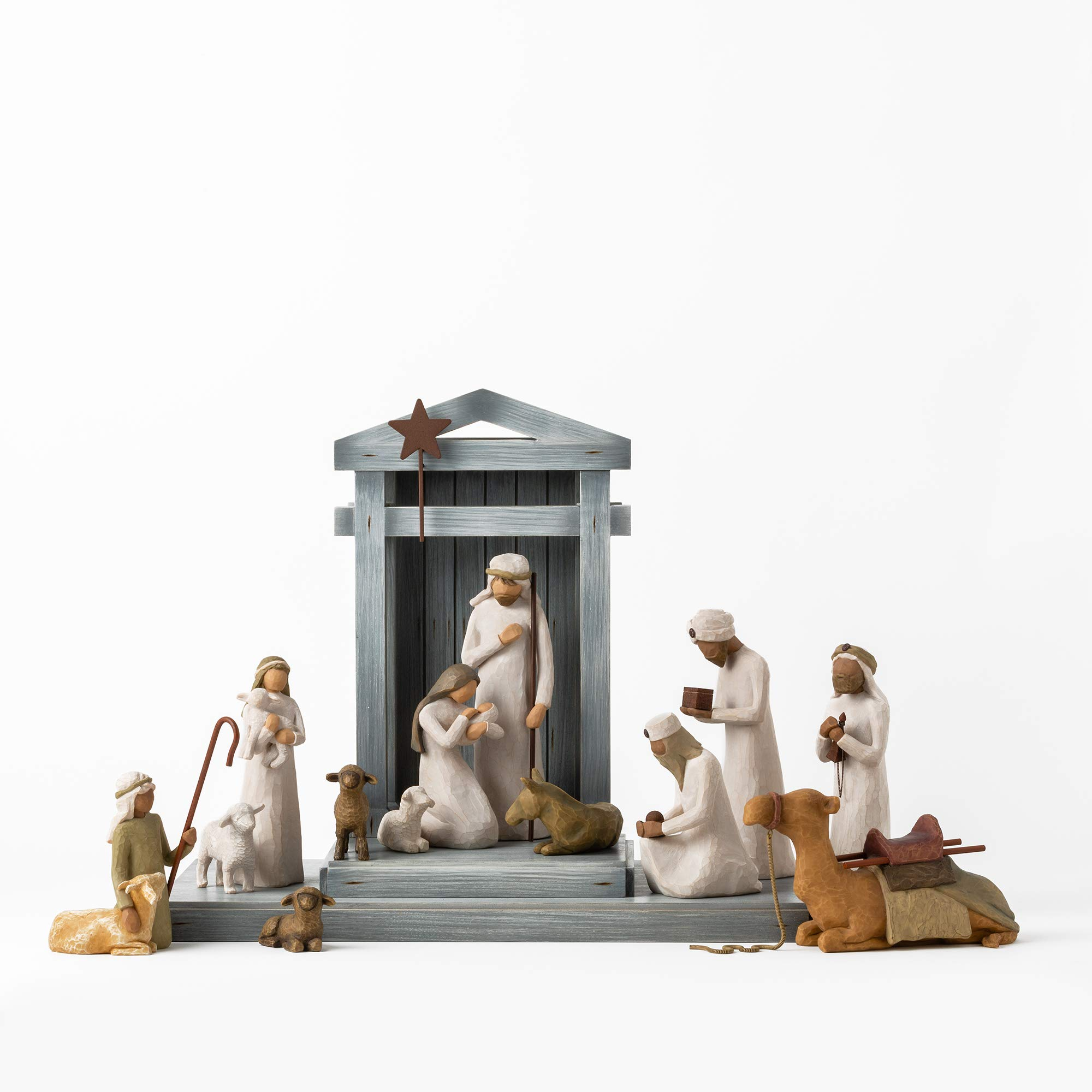 Willow Tree Nativity Deluxe Starter Plus The Three Wise Men and Camel, 14-Piece Set by Willow Tree