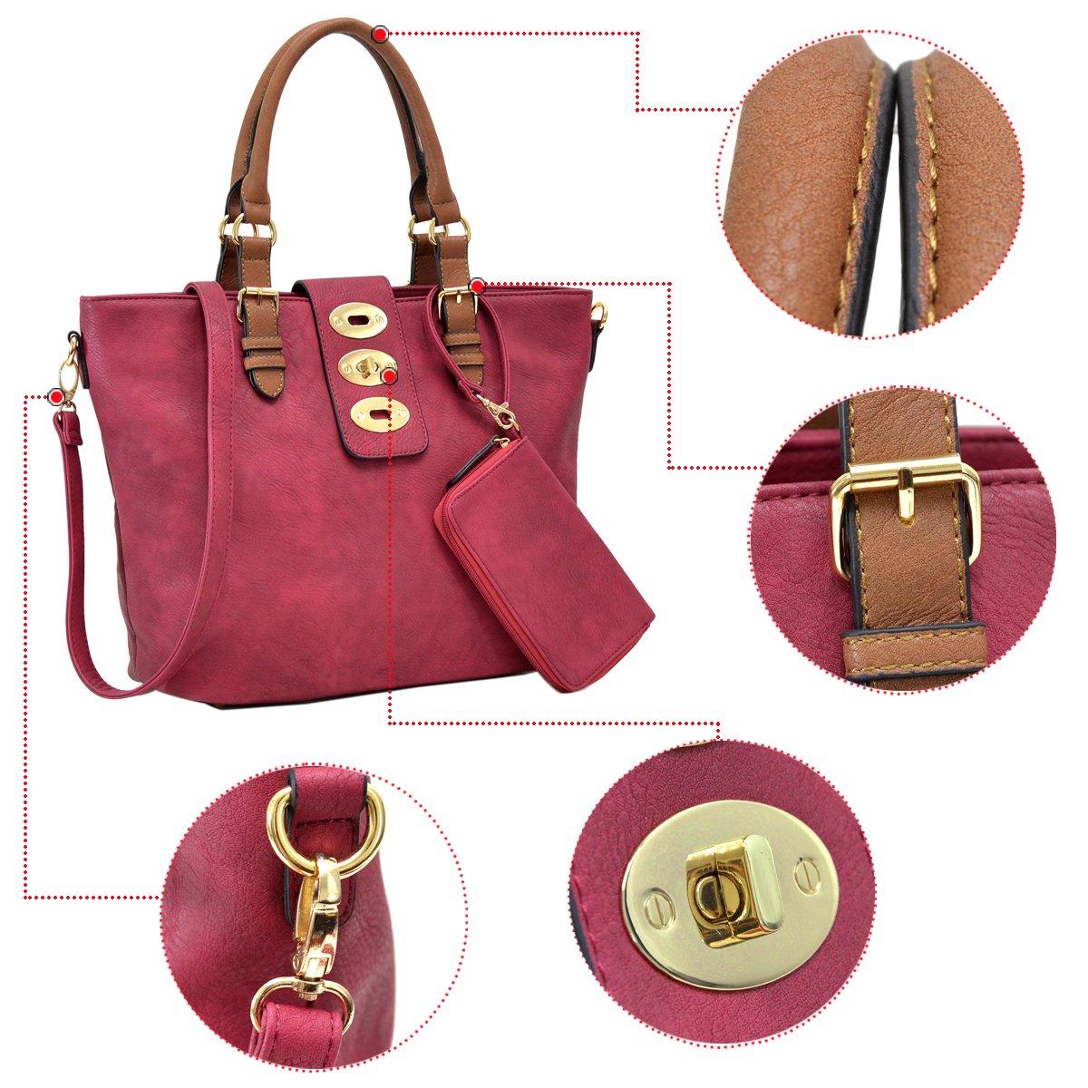MMK collection Fashion handbag~Classic Tote bag~Holiday gift purse with Wallet~Beautiful Handbag wallet set~Crossbody handbag (MA-07-6717-BK/CF) by Marco M. Kelly (Image #5)