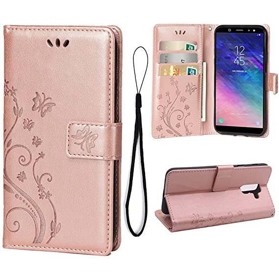 innovative design 00bc3 5ef4f Wallet Case for Samsung Galaxy A6 2018[Not for A6 Plus 2018], 3 Card Holder  Embossed Butterfly Flower PU Leather Magnetic Flip Cover for Samsung ...
