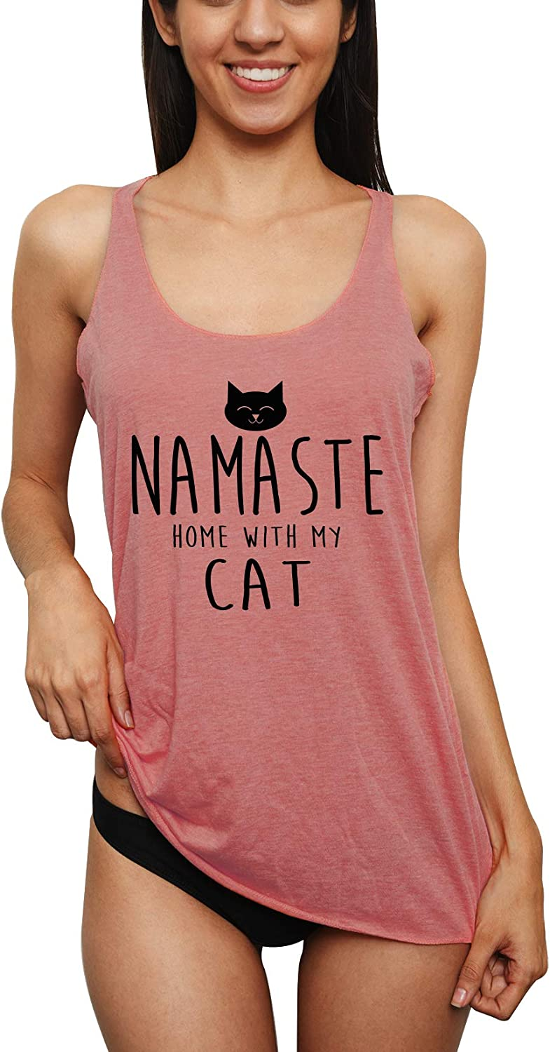 Emdem Apparel Funny Womens Tank Top Namaste with Home with My Cat Lady