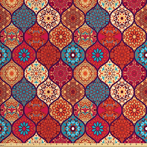 Ambesonne Moroccan Fabric by The Yard, Oriental Wavy Curvy Pattern with Spring Nature Inspired Retro Style Art Motifs, Decorative Fabric for Upholstery and Home Accents, 2 Yards, Multicolor