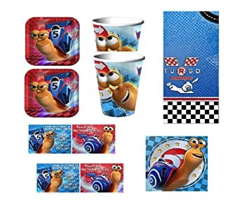 TURBO - Birthday Party Supplies Set Pack Kit for 16 w/ Invitations by Hallmark Party