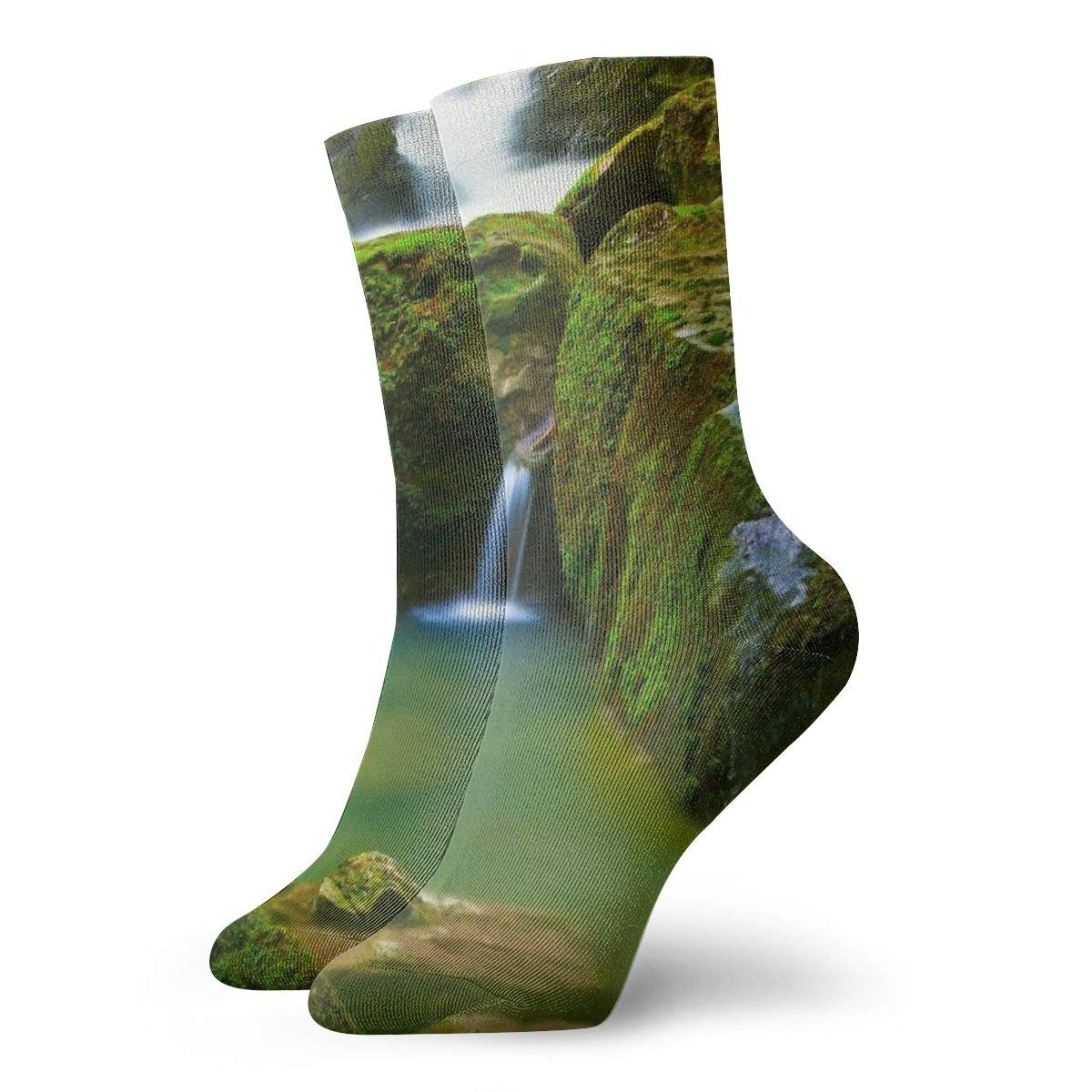 WEEDKEYCAT Beautiful Waterfall Stone Nature Landscape Adult Short Socks Cotton Cozy Socks for Mens Womens Yoga Hiking Cycling Running Soccer Sports