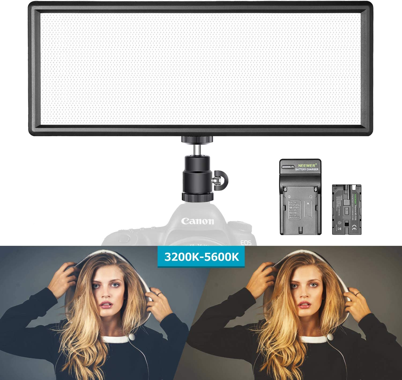 Neewer Luz Regulable LED Super Fino Bi-Color con Pantalla LCD ...