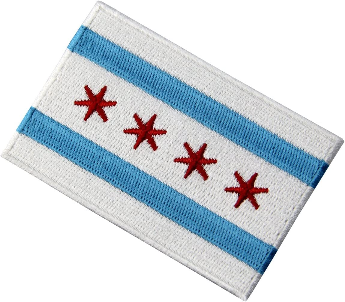 CHICAGO CITY FLAG Iron On patch Shirt Hat Jean shoes Applique ≈3.6*2.5 inch HOT