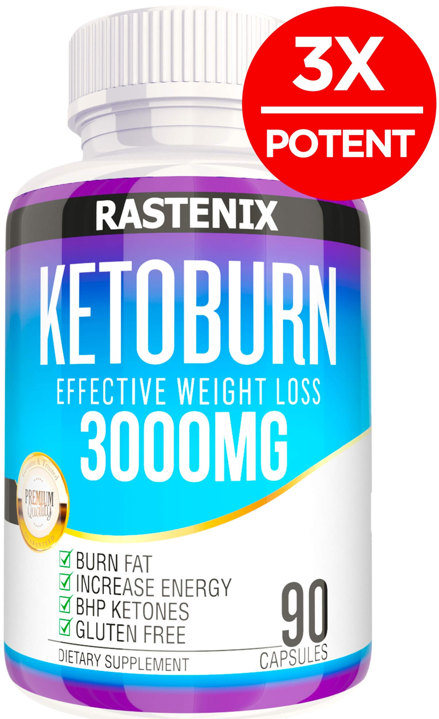 Best Keto Pills - 3X Potent (3000mg | 90 Capsules) - Weight Loss Keto Burn Diet Pills - Boost Energy and Metabolism - Exogenous Keto BHB Supplement for Women and Men - 90 Capsules by Rastenix