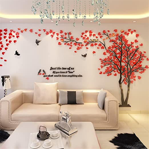 a51ae6144 VineCrown 3D Huge Tree Wall Stickers DIY Birds Forest Wall Decal Art Murals  Crystal Acrylic Wall Decor for Nusery Living Room Bedroom Home Decoration  (XL