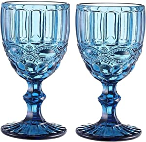 Wine Glass, Colored Glass Goblet, Set of 2, 10oz Vintage Pattern Embossed High Clear Glass Goblets for Party, Wedding,Green (Blue-1)