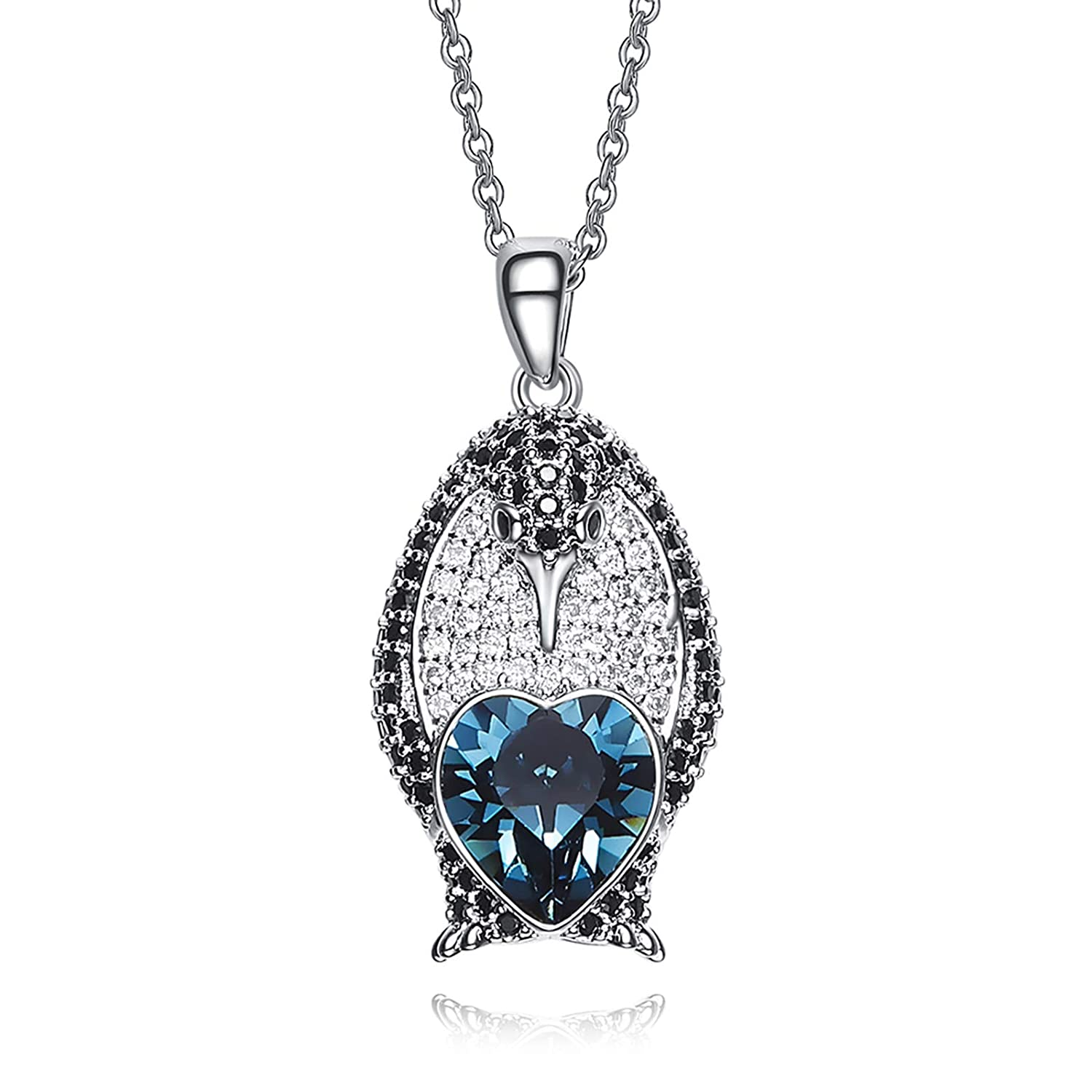 Aooaz Copper Necklace Womens Dolphin Crystal Pendant Necklaces Silver Wedding 2.8CM
