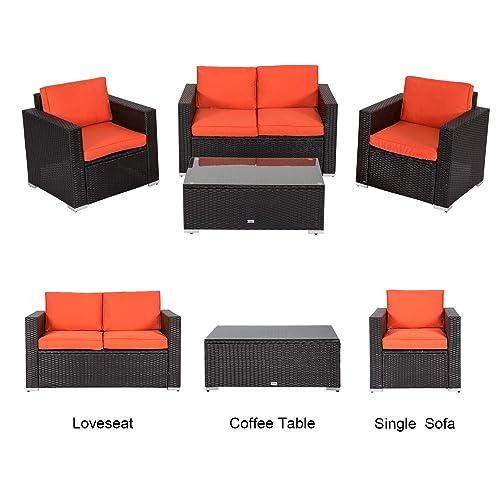 Kinbor 4 PCs Rattan Patio Outdoor Furniture Set Garden Lawn Sofa Sectional Set Black Orange-4PCs