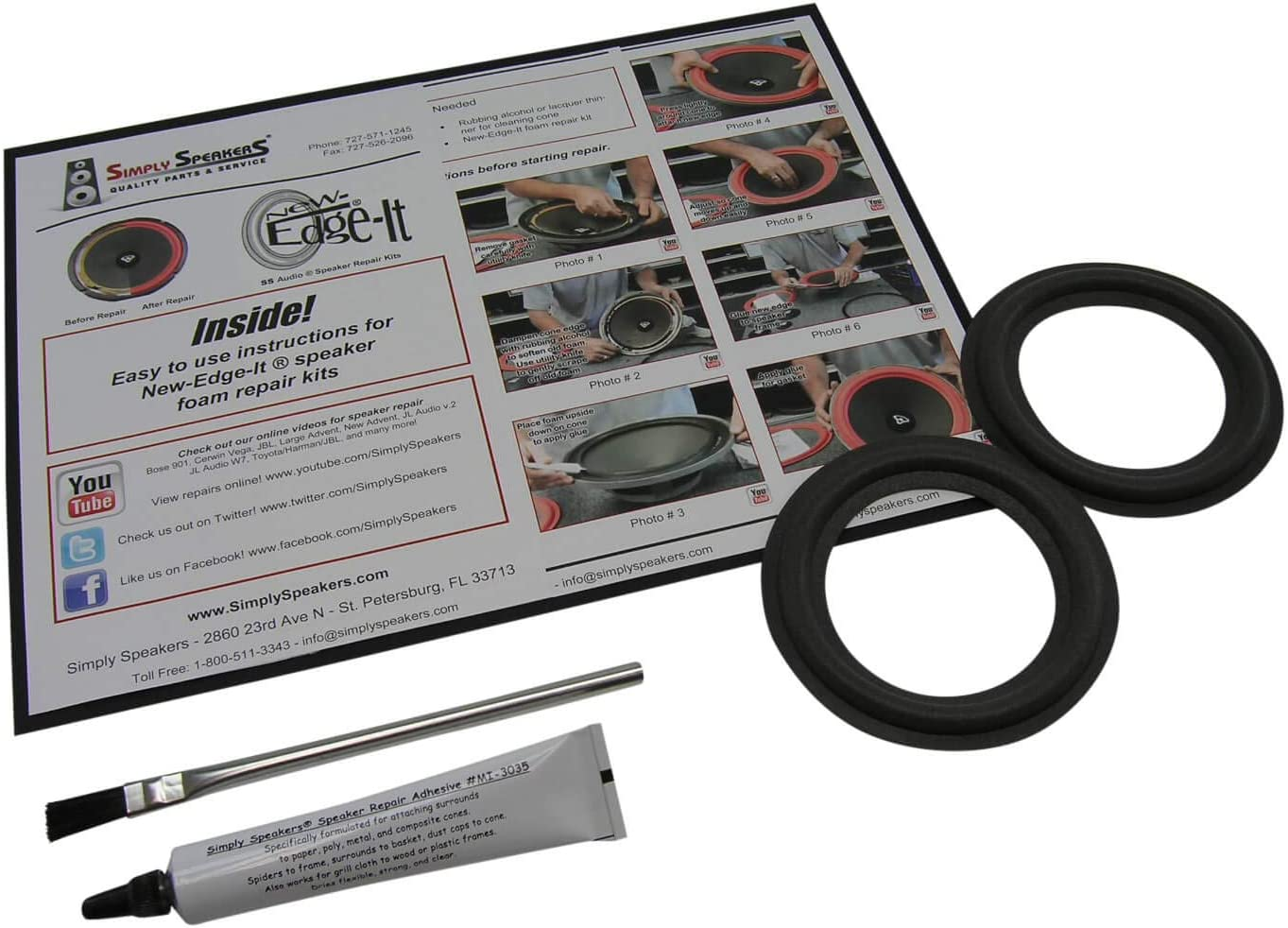 Pair Acoustic Research 4 Inch Foam Speaker Repair Kit FSK-4