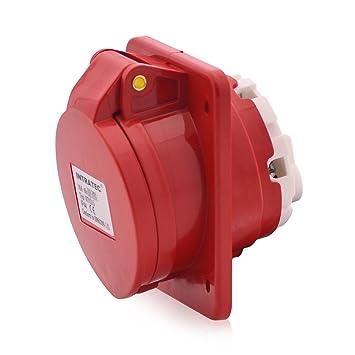 16A rot 5-polig 400V Kraftstrom Dose CEE-Einbausteckdose IP44 CEE Steckdose