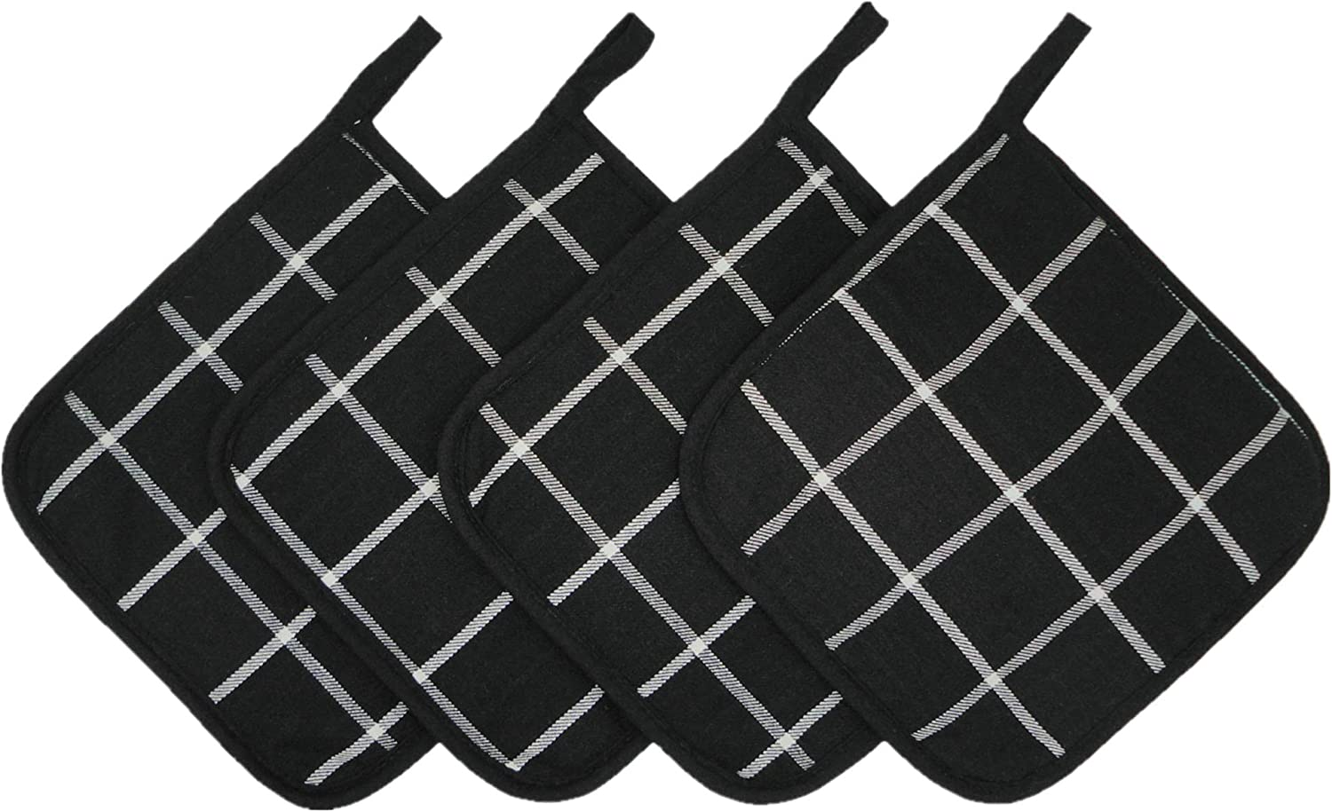 Cotton Quilted Pot Holders for Kitchen Heat Resistant Hot Pads Set for Cooking Grilling Barbeque Baking 7Inch x 7Inch Set of 4 (Black Suqare)