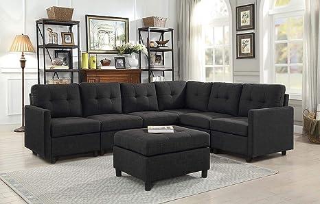 Amazon.com: Rabinyod Bulan 7pcs Contemporary Sectional Sofa ...