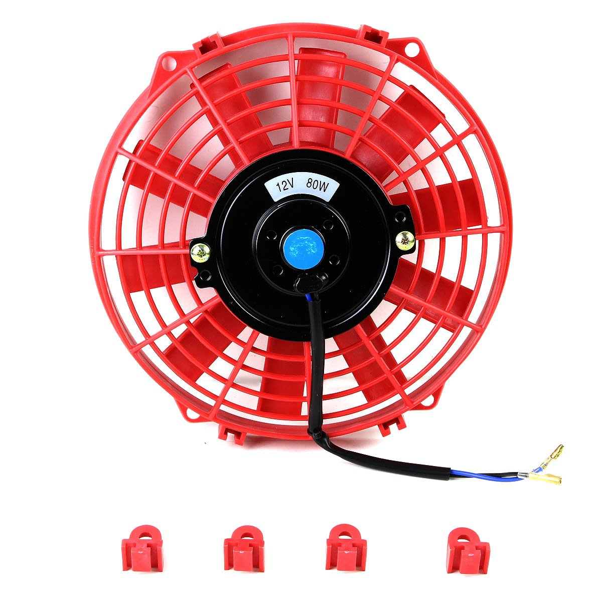 (Pack of 2) 9 Inch High Performance 12V Electric Slim Radiator Cooling Fan w/Mounting Kit - Red by Auto Dynasty (Image #2)