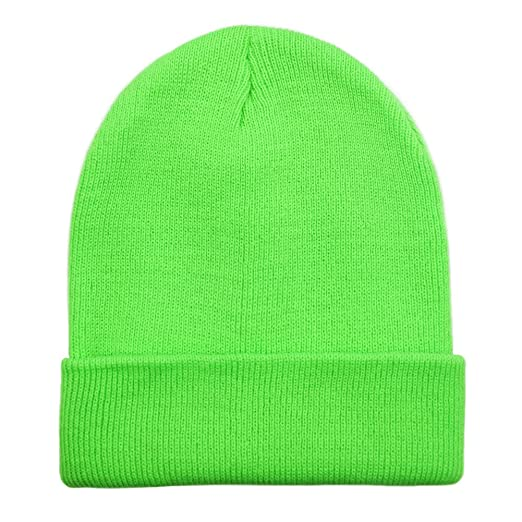 f0eecdc799c608 Opromo High Visibility Neon Color Cuffed Long Beanie Reflective Knit Winter  Hat at Amazon Men's Clothing store: