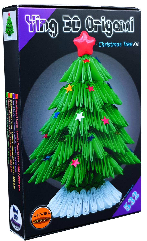 Origami Modulare 3D Kit Albero di Natale - 532 pz. di cartoncino 'Pre-segnato' pari a 1/32 su base A4 + Online video-tutorial istruzioni in Italiano & Inglese - Connessione a Internet Richiesta - Made in Italy- Ying 3D Origami