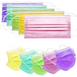 50pcs Colorful Disposable Face Masks Cover Breathable Dust Mask Stretchable Elastic Ear Loops Masks 50pcs/Pack