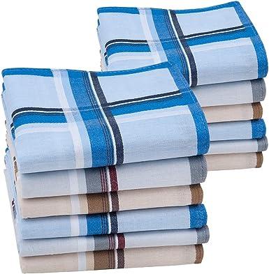 HOULIFE - Pañuelos para hombre, 100% algodón, diseño de rayas clásicas 60S, patrón de cuadros, para regalo del día del padre de papá, abuelo, 6/12 piezas, 43 x 43 cm Mixed-12pcs Large: