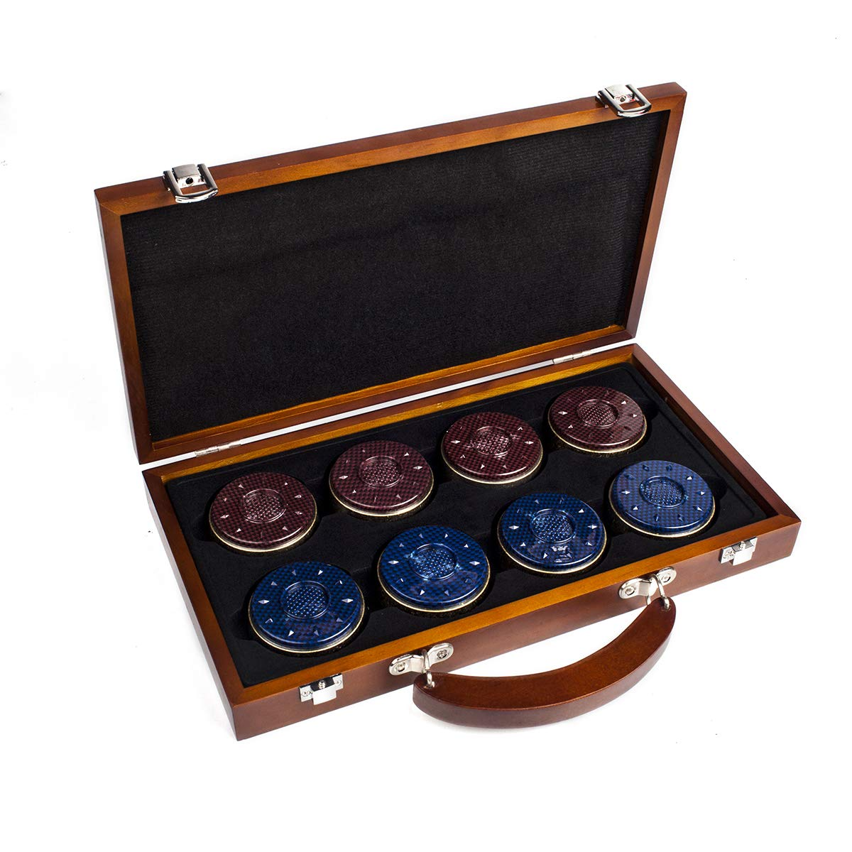 IdealEnjoy Shuffleboard Pucks 2-5/16''(58mm),Set of 8(red&Blue) with case