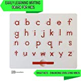 Magnetic Drawing Board | ABCD Lowercase Alphabetic Letters Sketcher | 35.5cm x 25.5cm Large Tablet | Develop Early Writing, Cursive for Young Children | STEM Trace Learning with Pen Included