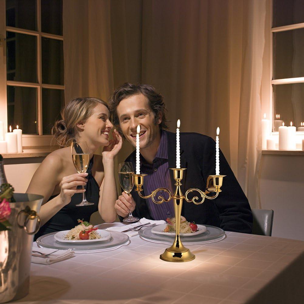 argent Bougeoir 3 branches en m/étal dor/é argent/é 3 branches de style europ/éen chandelier de mariage 2 couleurs d/écoration int/érieure