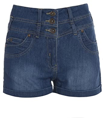 Womens High Waist Denim Shorts 8 - 16: Amazon.co.uk: Clothing