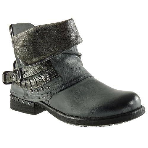 Zapatos grises de punta redonda formales Angkorly para mujer OI4qzVXb