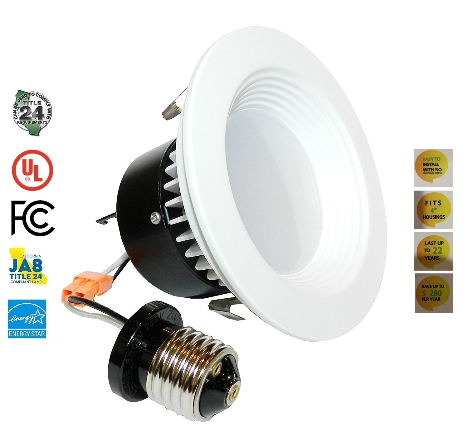 4'' LED Recessed Retrofit Kit Dimmable-Baffle, Downlight Fixture with LED Power Supply, Combined Single Unit, 540 Lumens (40 Units/ 1 Case)