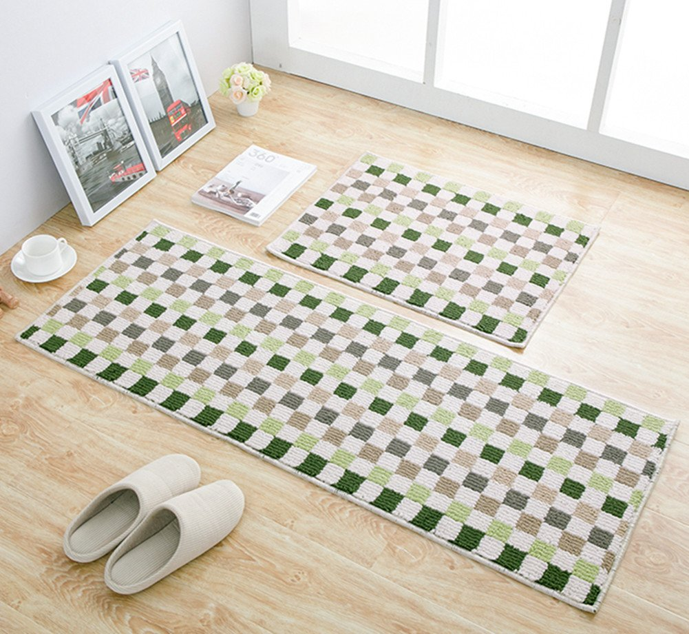 EUCH Non-slip Rubber Backing Carpet Kitchen Mat Doormat Runner Bathroom Rug 2 Piece Sets,17''x47''+17''x23'' (Green Mosaic)
