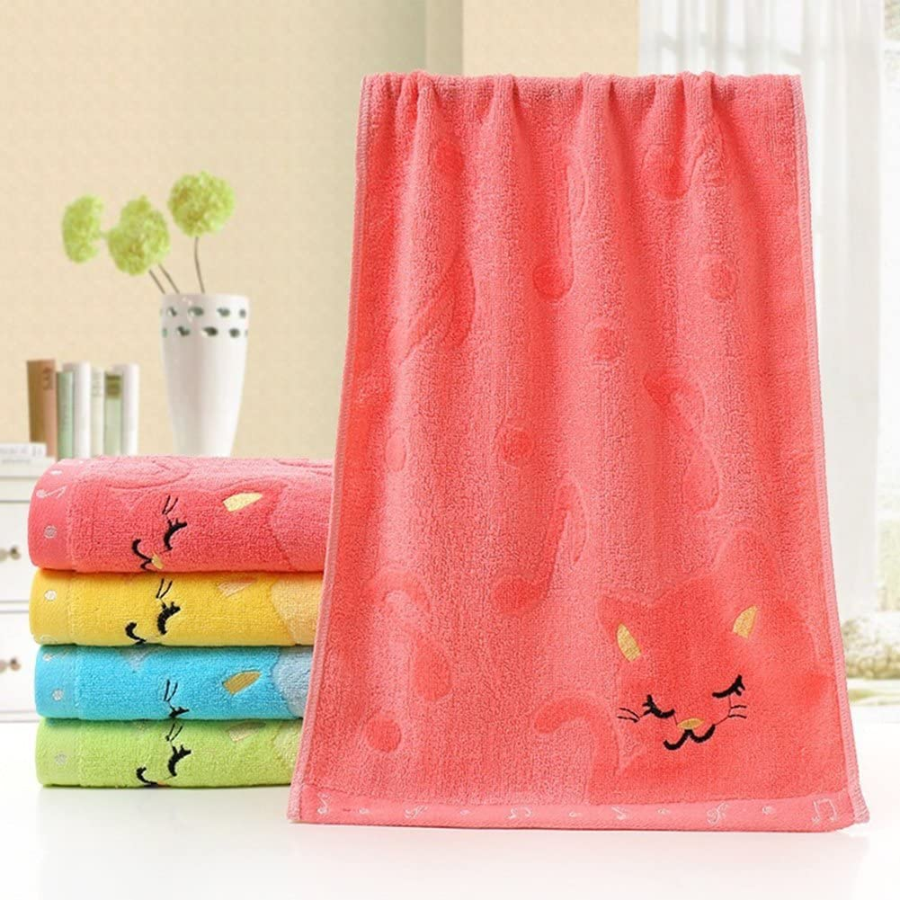 Blue pu ran Child Cute Cat Musical Note Soft Towel Water Absorbing for Bathing Shower
