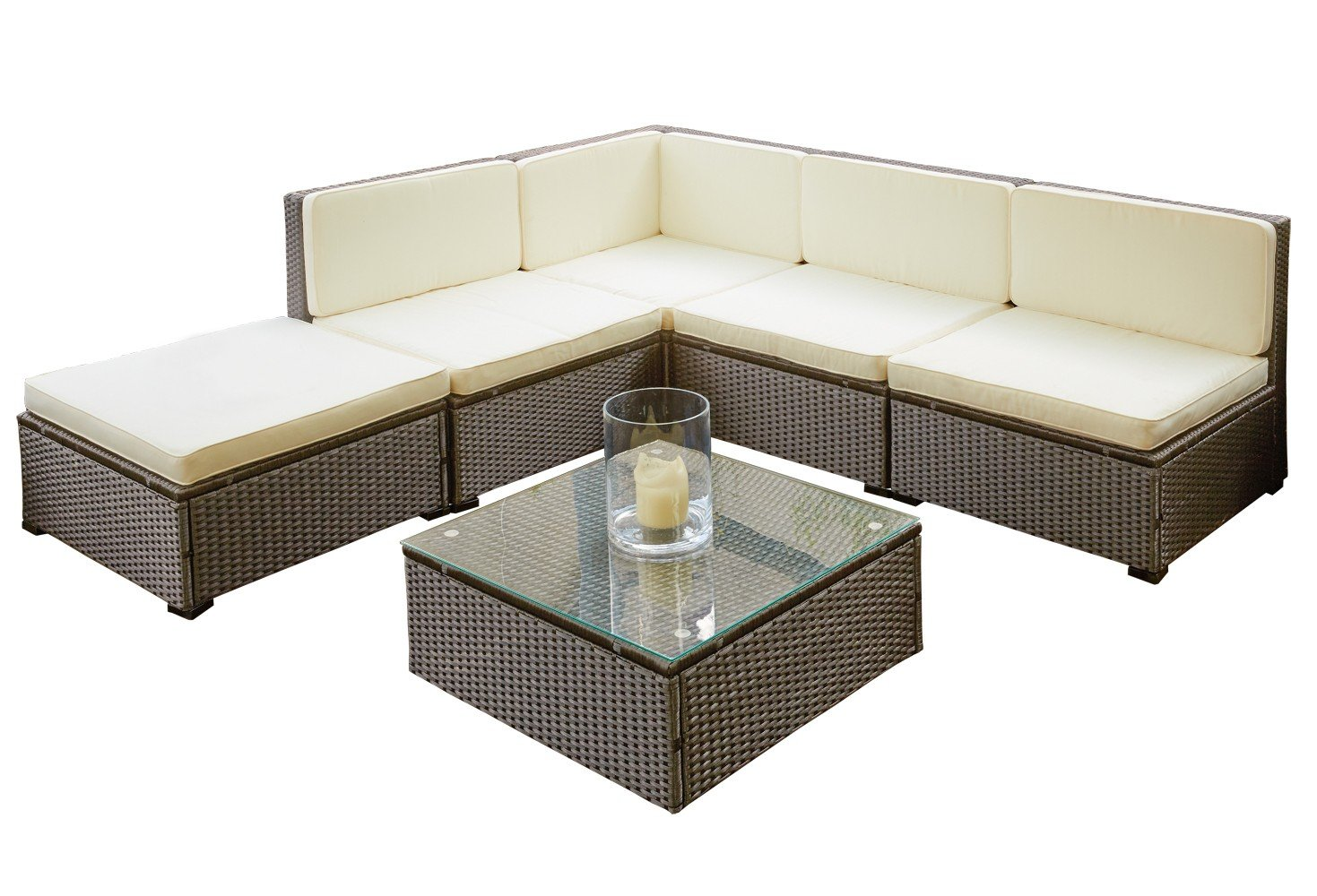 poly rattan sitzgruppe sitzgarnitur gartenm bel sofa lounge garten mit tisch braun lagento. Black Bedroom Furniture Sets. Home Design Ideas