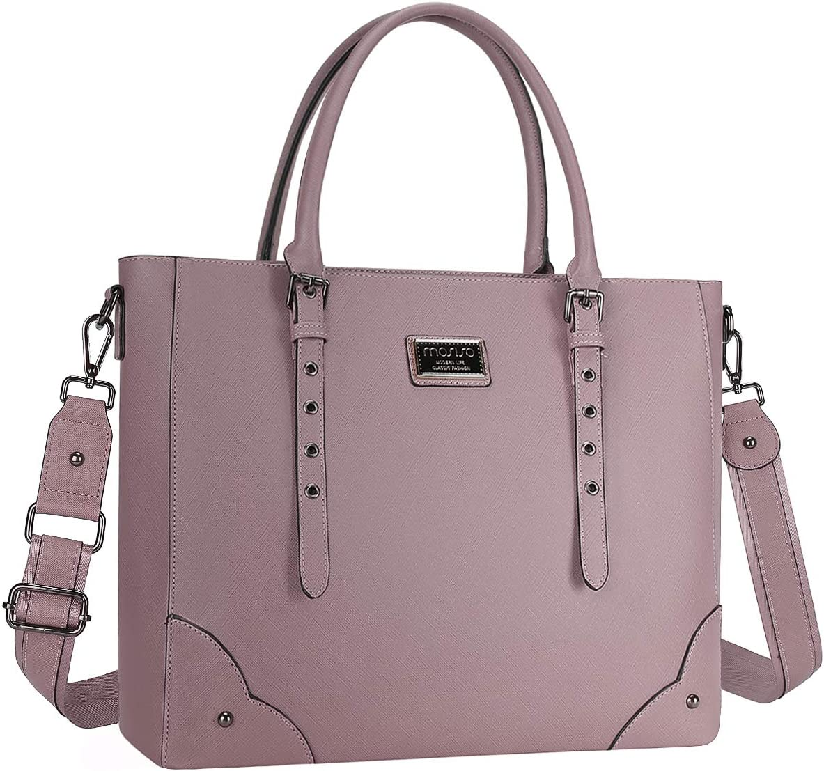 MOSISO 15.6 inch Women Laptop Tote Bag with Adjustable Handle&Rivets, Purple