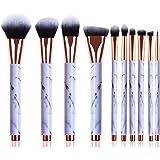 Marble Makeup Brushes, 10 Pieces Professional Makeup Brush Set with Blush Brush, Concealer Eyeliner Lip Brush, Flat Foundation Brush, Face Brush Travel Cosmetic Brushes