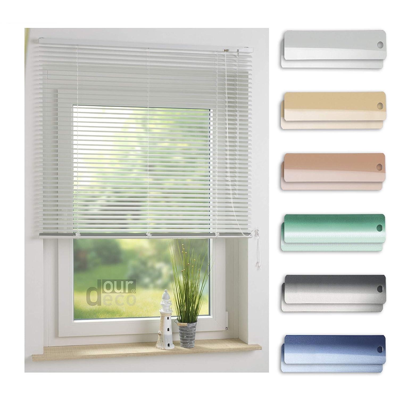 Ourdeco® Aluminium-Jalousie   200 x 220 Weiß (Breite x Höhe)   Montage an Wand oder Decke, Premium Alu-Jalousie