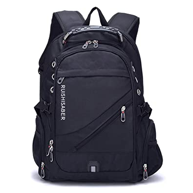 Amazon.com  Oxford Swiss Backpack USB charging 17 Inch Laptop Men  Waterproof Travel Backpack Female Vintage School Bag backpack mochila 7779a9691f640