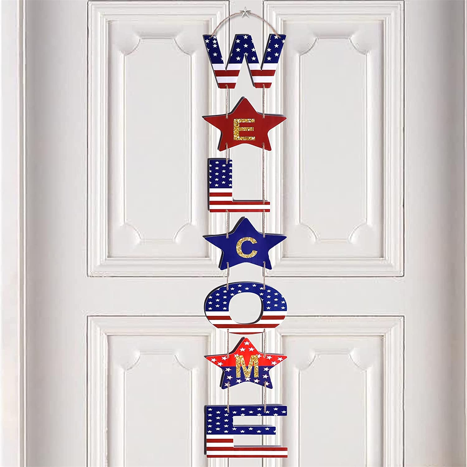 Hocis - DIY Patriotic 4th of July Wreath Decorations Independence Day Hanging Welcome Door Sign with American Flag Element for Memorial Day Labor Day Indoor Outdoor Party Yard Wall Porch Home Décor