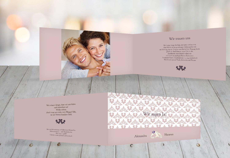 Kartenparadies Hochzeitskarte Einladung Ornament mit Herz, hochwertige Einladung Einladung Einladung zur Heirat inklusive Umschläge   10 Karten - (Format  215x105 mm) Farbe  Rosadunkellila B01N364KE3 | Günstigstes  | Modern  | Lebensecht  8b736a