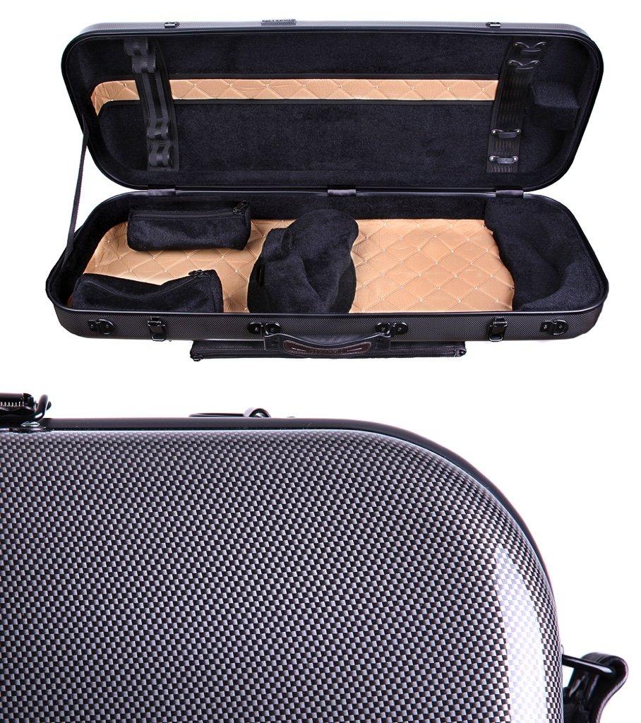 Tonareli Viola Oblong Fiberglass Case - Special Edition Graphite VAFO 1001 - Includes attachable music bag - Adjustable to over 18 inches Tonareli Music Supply 4336350574