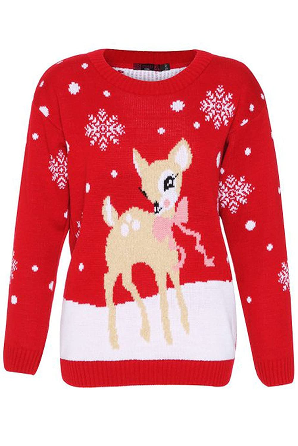 Girlzwalk ® Girls Christmas Novelty Baby Deer Print Knitted Jumper