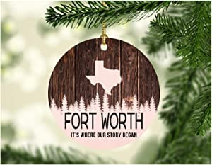 """Christmas Tree Ornament 2020 Fort Worth Texas It's Where Our Story Began - Merry Christmas Ornament Family Pretty Rustic Holiday Xmas Tree Decoration 3"""" Flat Holiday Keepsake"""