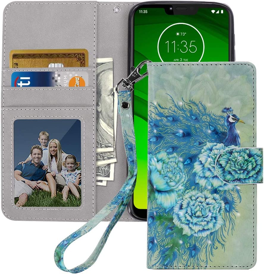 MagicSky Moto G7 Power Wallet Case, [Upgrade Cat Eye Texture] PU Leather Flip Folio Case Cover with Strap, Card Holder, Pocket, Kickstand for Moto G7 Power/G7 Supra/ G7 Optimo,Green Peacock
