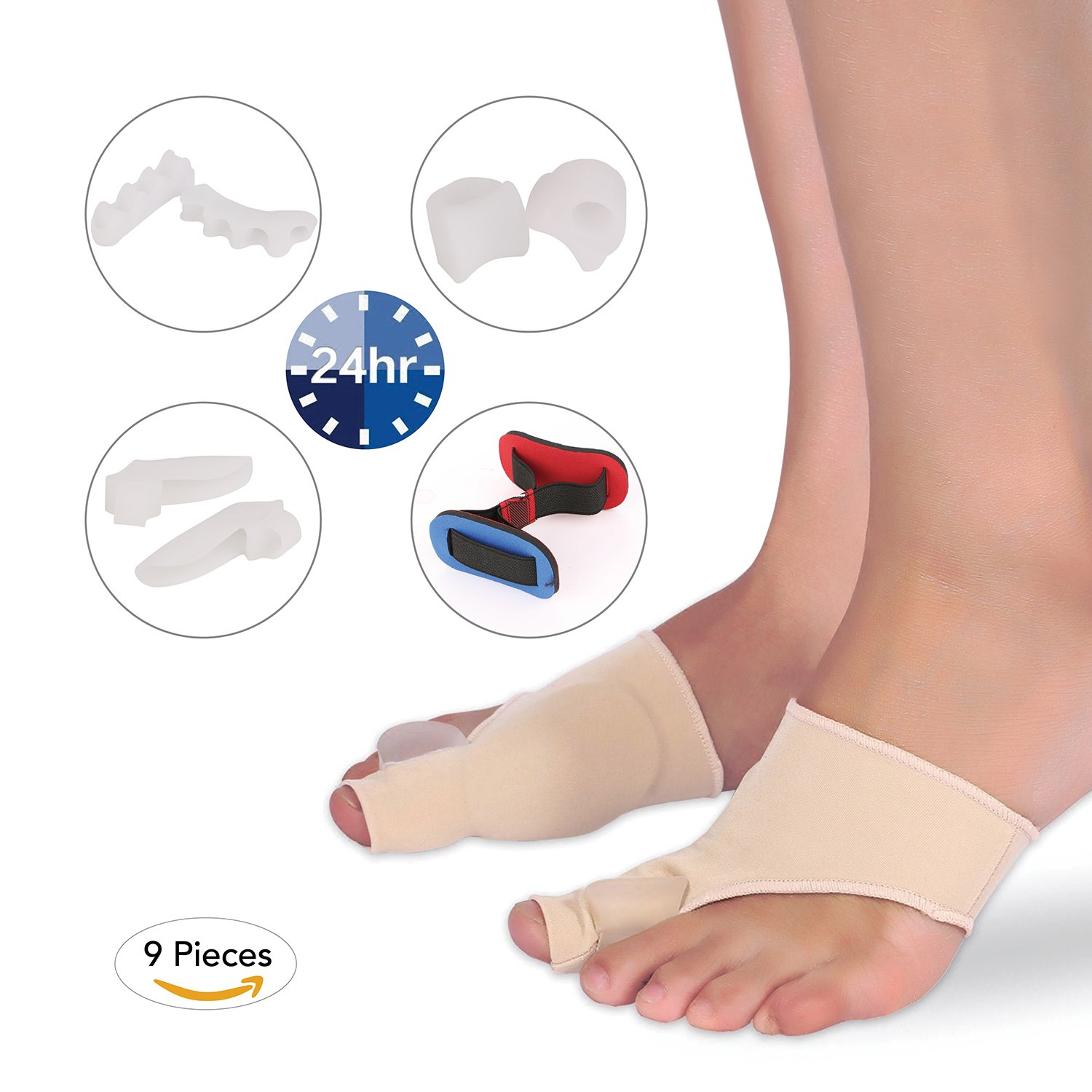 MARNUR Bunion Corrector Pads Kit with Bunion Relief Socks Sleeves and Toe Separators Spacers Straighteners Splint for Bunion Pain, Hallux Valgus and Aid surgery Treatment