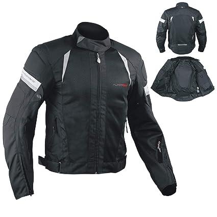 A-pro - Chaqueta de moto para verano con protectores, negro, talla L
