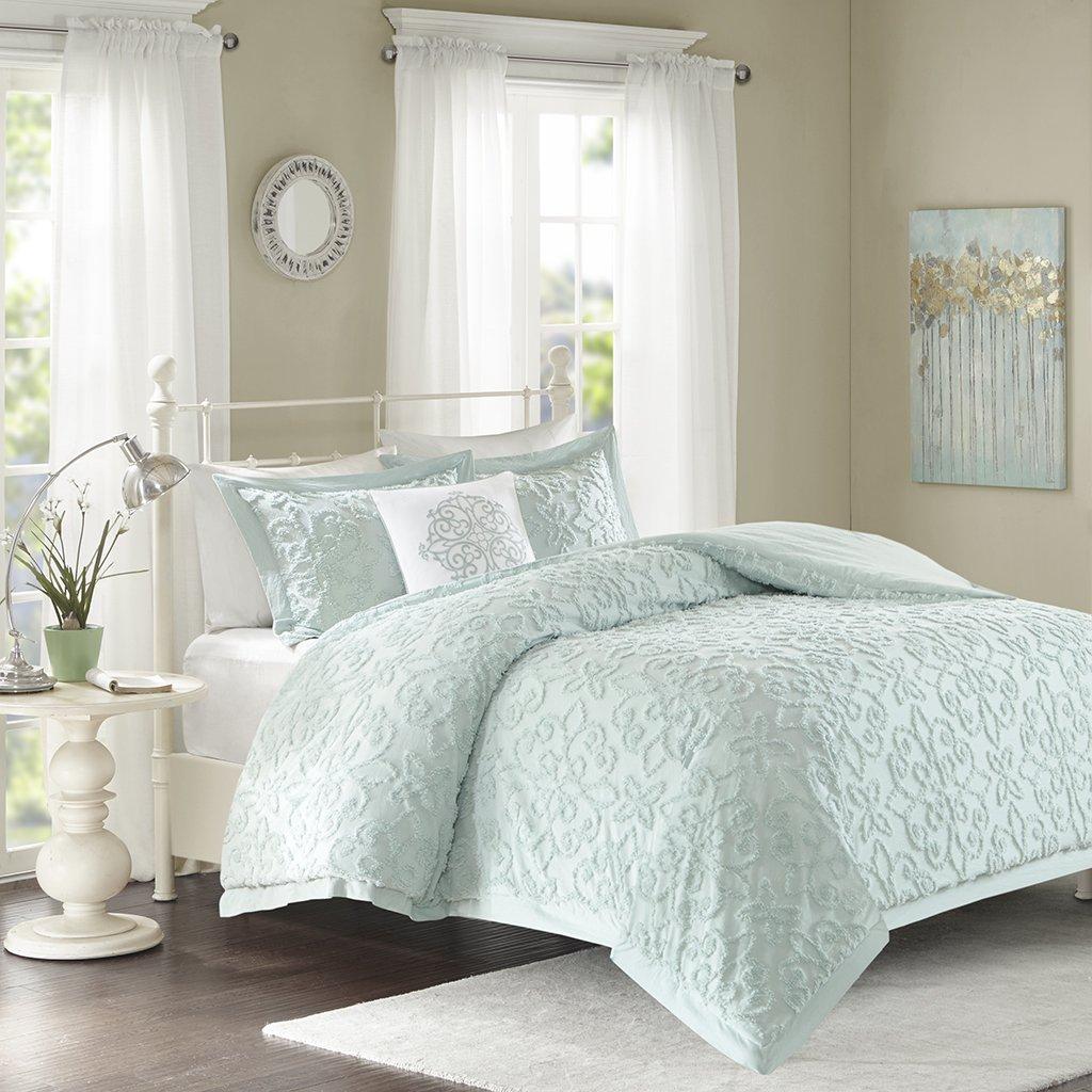Madison Park Sabrina Comforter Set King/Cal King Size - Teal, Medallion – 4 Piece Bed Sets – 100% Cotton Teen Bedding for Girls Bedroom MP10-3325