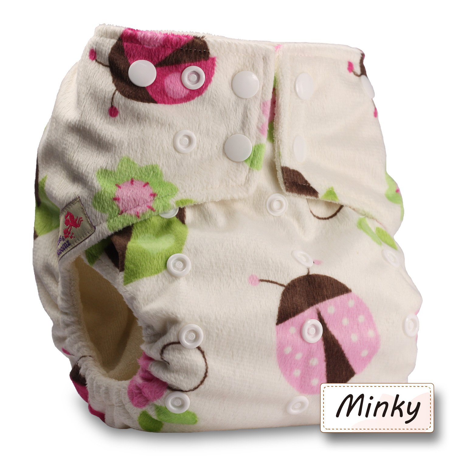 Littles & Bloomz, Baby Cloth Washable Reusable Nappy Pocket Diaper Bamboo, Fastener: Popper, Pattern 19, Without Insert