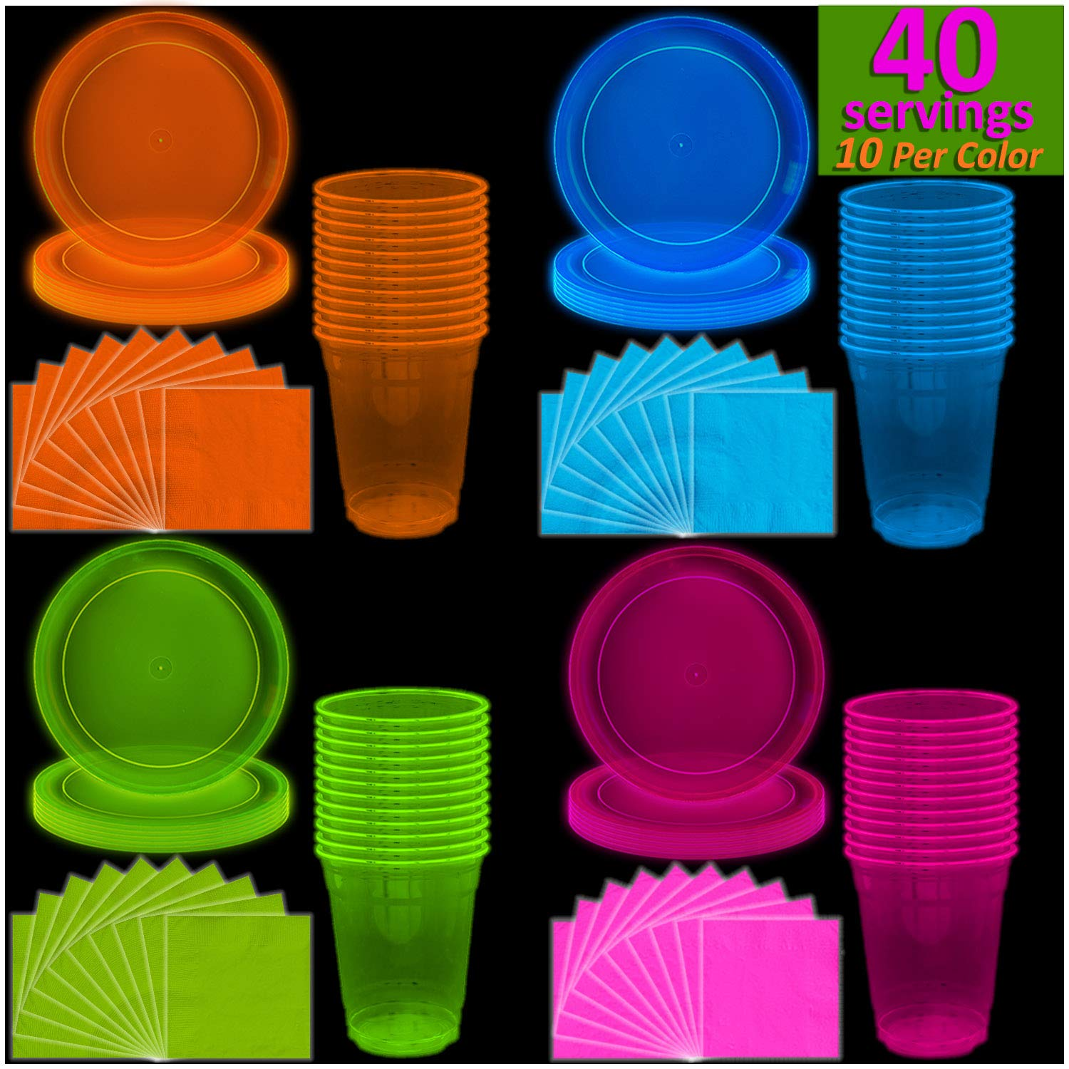 Neon Plates (9''), Cups (12 oz) & Napkins - 40 Servings, 4 colors - Black Light Party Supplies, Glow-in-the-Dark with UV Light - for Birthdays, 80s Theme, Fiesta, clubs
